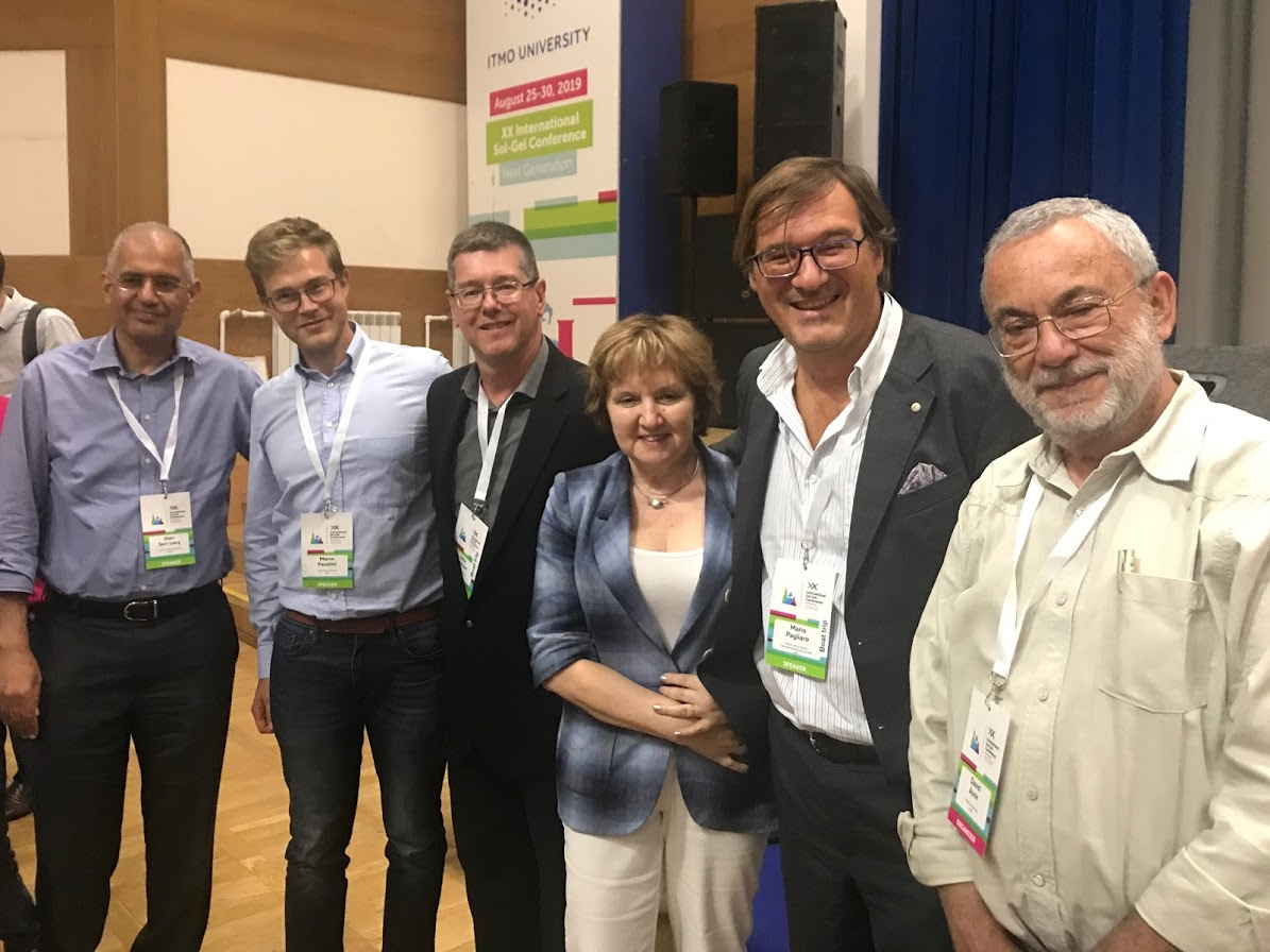 Alon Seri-Levy, Marco Faustini, John Brennan, Eugenia Kumacheva, Mario Pagliaro and David Avnir after the 'How to build a successful career' roundtable held at XX International Sol-Gel Conference, 27 August 2019